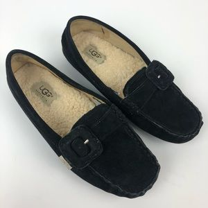 UGG Thelma Black Suede Loafers Moccasins 1681